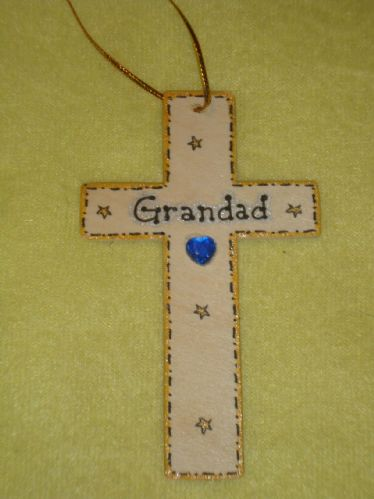 SALE** was £1.99 Grandad Memorial Cross Hanger for wall or tree Christmas Birthday Angelversary In Memory Unique Sign Ready To Despatch